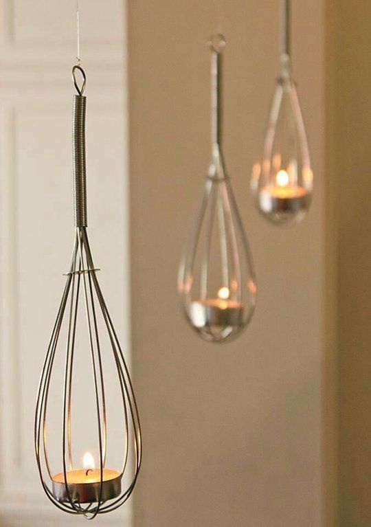 DIY: hanging whisk candle holders for battery operated tealights