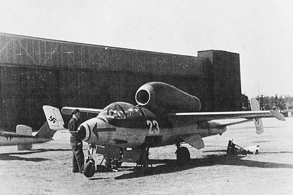 Captured Heinkel He 162. (U.S. Air Force Photo)