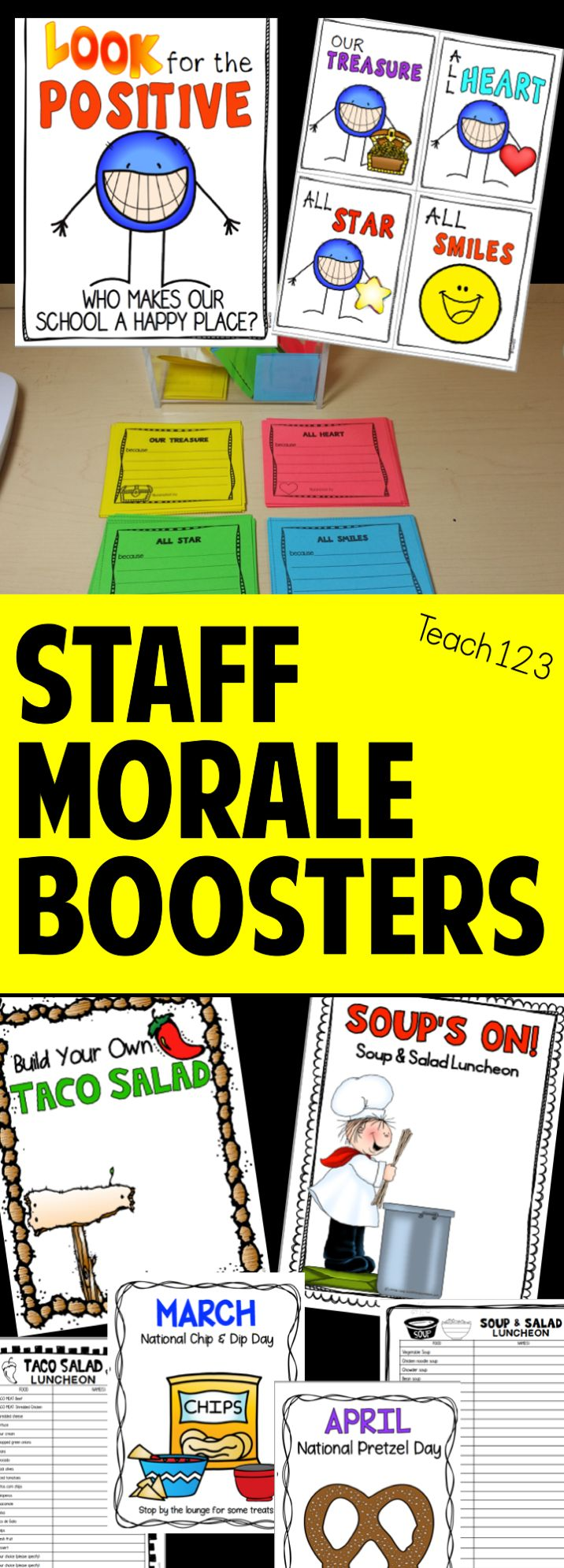 Teacher & staff appreciation activities are fun ways to boost the morale.  Includes staff shout outs, happy notes, luncheons, faculty snacks, tips to organize events, and more!  paid