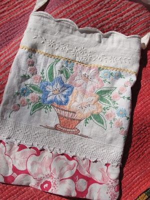 Vintage Bag.  Mary Stanley a bit bigger and put in zipper or drawsteing would make nice lingerie bag