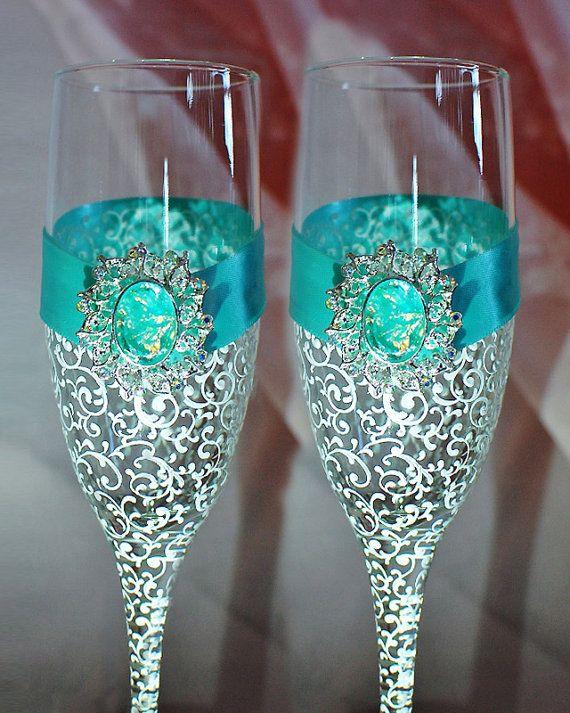 Tiffany Blue wedding glasses - Elegant  Wedding Champagne Glasses-Turquoise Wedding glasses - Bride And Groom - Personalized Toasting Flutes on Etsy, $54.00