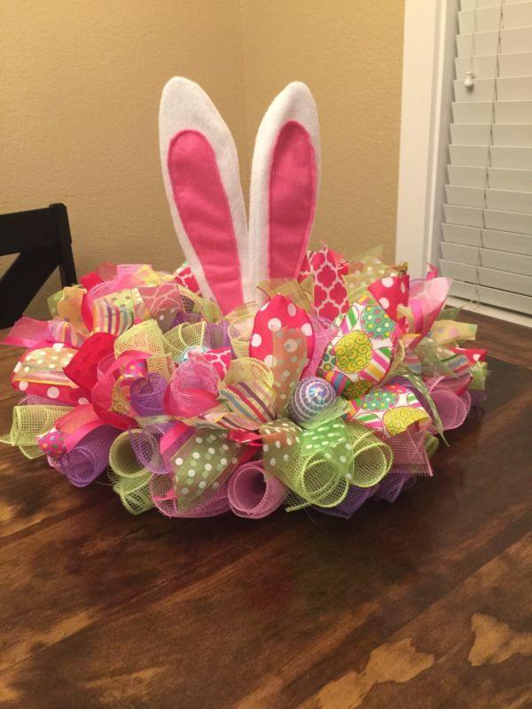 Easter Centerpiece Wreath Deco Mesh Bunny