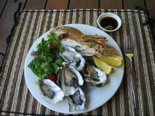 Oysters, Moreton Bay Bug (a type of crayfish) fresh lemon and a cherry tomato and coriander salad