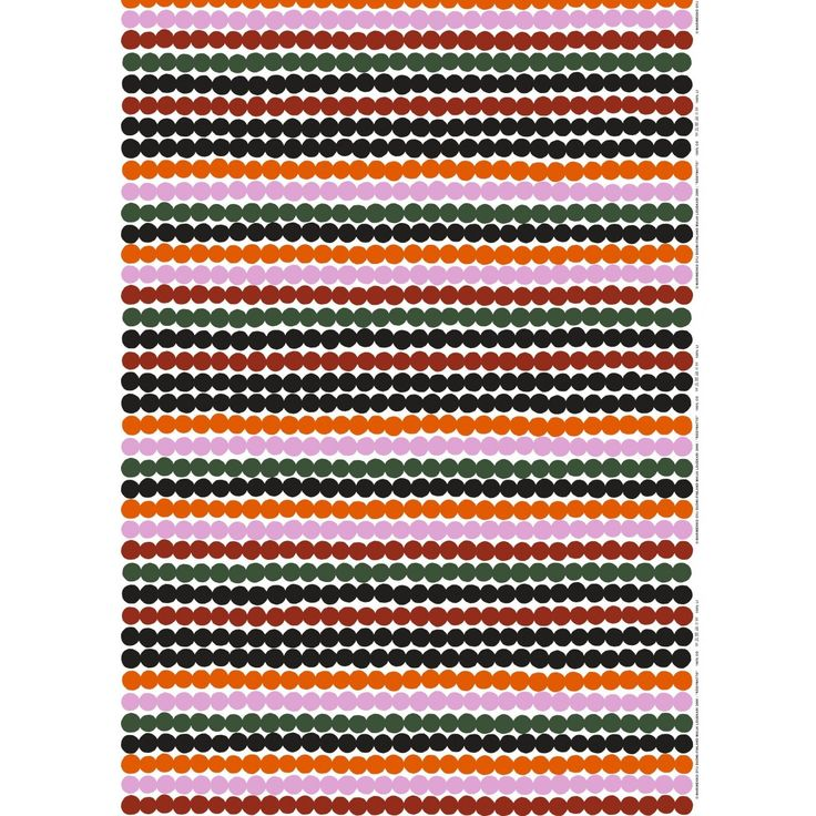 The Räsymatto print runs across this heavyweight cotton in bright oranges, pinks, and dark grays. The pattern is inspired by Finnish woven rugs; designed by Maija Louekari.