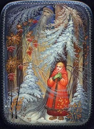 Kholui School  Title: Morozko  Artist: Yurov A.  Size (cm): 8.5x11.5x3  Size (inches): 3.5x4.75x1.25  Price: 225