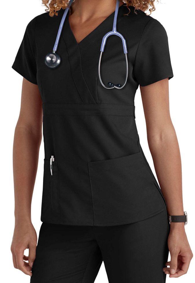 Greys Anatomy Top 3 Pocket Mock-Wrap Scrub 4153