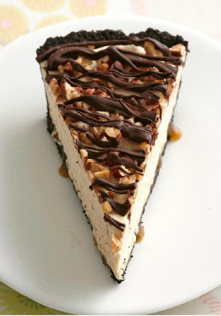 Frozen Peanut Butter Turtle Pie -- Peanut butter and chocolate are the driving forces in this dessert recipe. A layer of caramel and a sprinkle of pecans make it worth the turtle title.