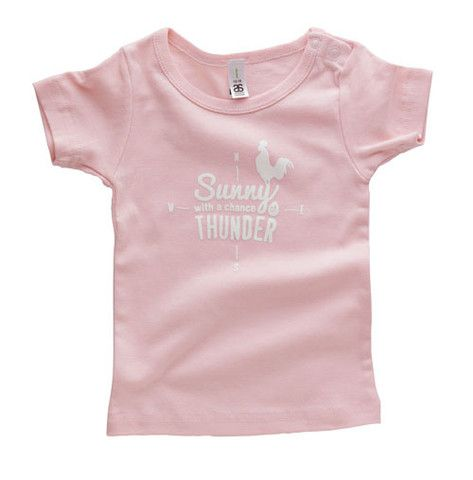 Candy pink wee tee - Sunny with a chance of THUNDER. Also available in baby blue, grey marle, red and super cool white + fluoro orange!