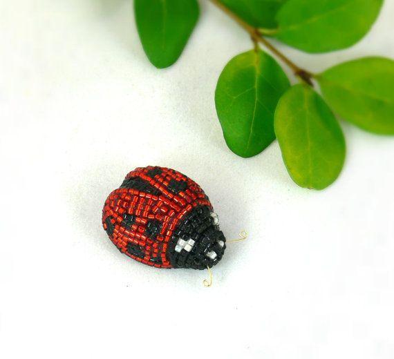 Ladybug Miniature Figurine Tiny Beaded Animal by MeredithDada, $32.00