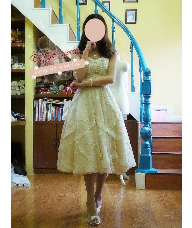 Custom Vintage Inspired Ivory / Cream Tulle Lace Pearls Strapless Tea Length Wedding Reception Dress. $580.00, via Etsy.