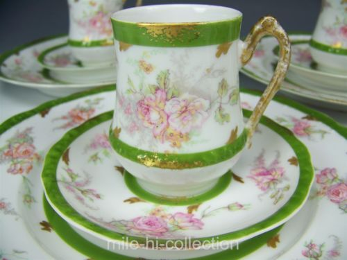 LIMOGES FRANCE TRIO TEA CHOCOLATE CUP AND SAUCER ROSES GREEN BAND TEA CUP