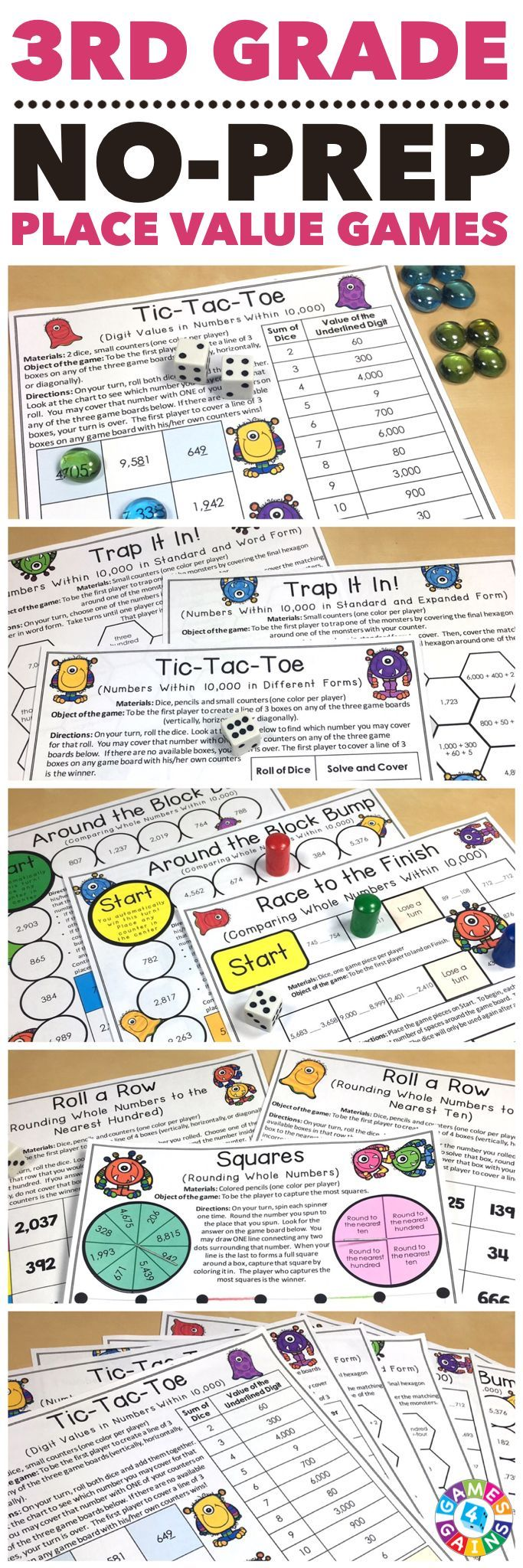 """Simple for the kids to play - they LOVED them!"" Place Value Games for 3rd Grade contains 10 fun and engaging printable board games to help students to practice reading, writing, comparing, and rounding numbers. These games are so simple to use and require very minimal prep. They are perfect to use in math centers or as extension activities when students complete their work!"