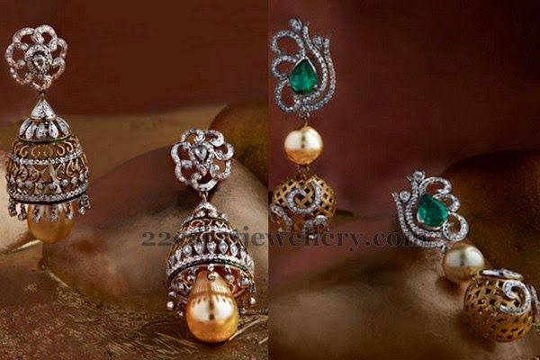 Jewellery Designs: Light Weight Diamond Jhumkas