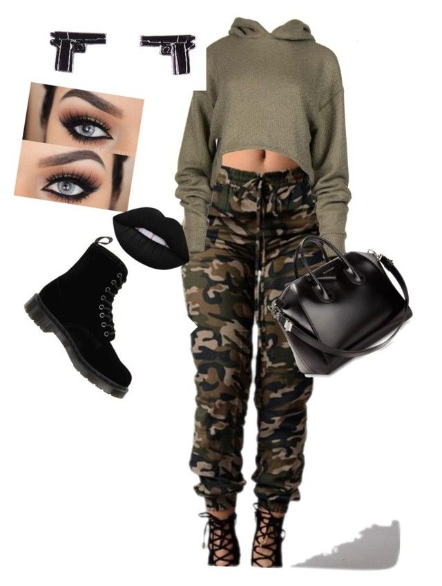 Tough girl by jnbell on Polyvore featuring polyvore, fashion, style, Dr. Martens, Givenchy, Lime Crime and clothing
