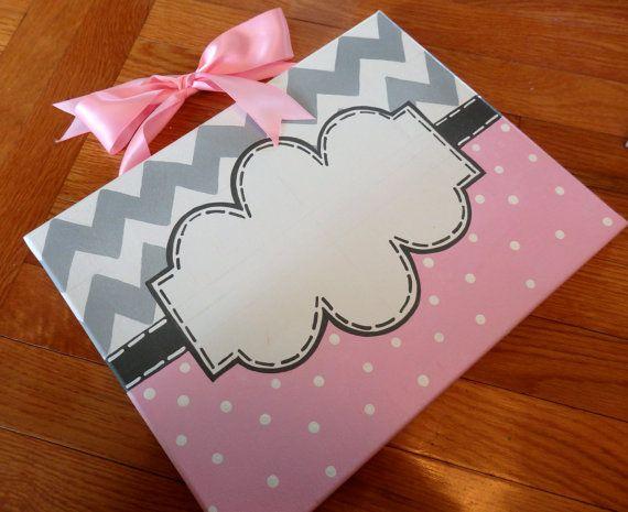 Custom Canvas Sign Pink Gray Dots Chevron Teacher Girl Name Monogram Room Door Hanger