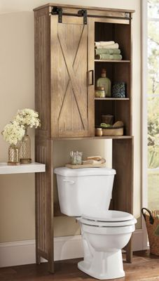 Bath Storage Trendy Farmhouse Rolling Barn Door Bathroom