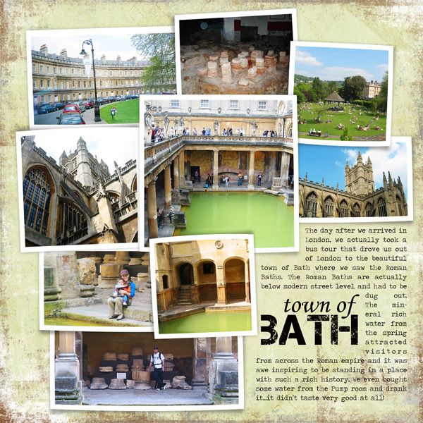 Bath travel scrapbook layout. Like the multi photos layout