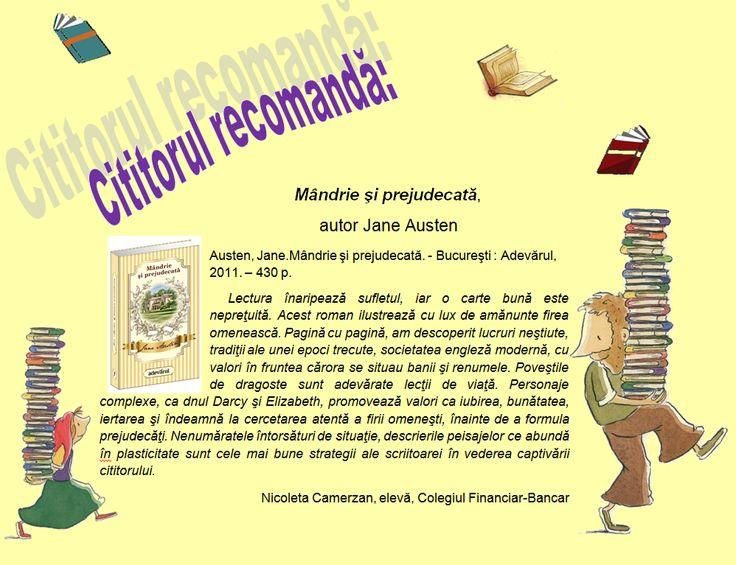 """Blogul Bibliotecii """"Targu-Mures"""": Cititorul recomandă ,,Mândrie şi prejudecată '' de..."""