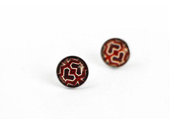 Sterling Silver  Art Stud Earrings Art Jewelry Modern Earrings  Art Earrings Ethnic Design , Handmade by Evartstudio