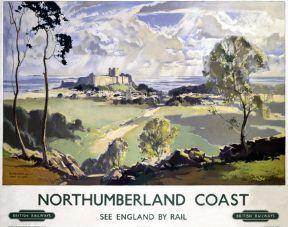 British Railways Travel Art Poster, Northumberland Coast, See England by Rail