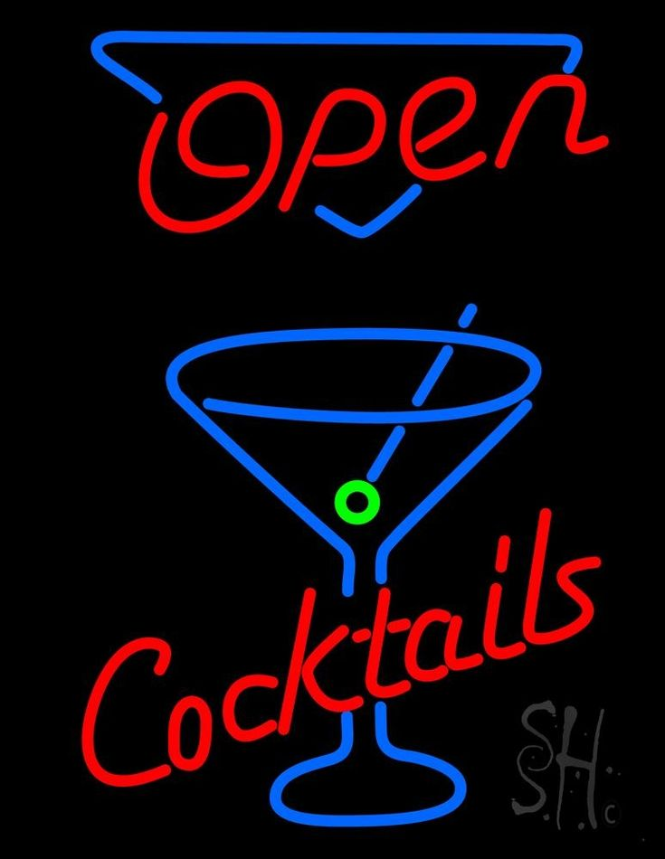 Open With Cocktail Glass Neon Sign 31 Tall x 24 Wide x 3 Deep, is 100% Handcrafted with Real Glass Tube Neon Sign. !!! Made in USA !!!  Colors on the sign are Red, Blue and Green. Open With Cocktail Glass Neon Sign is high impact, eye catching, real glass tube neon sign. This characteristic glow can attract customers like nothing else, virtually burning your identity into the minds of potential and future customers.