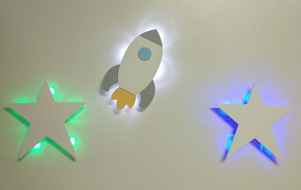 Painel Foguete Estrela Com Led Kit Luminaria Bebe Espacial Com