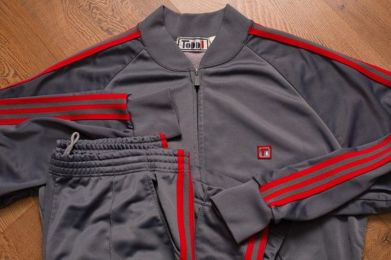 9a54beadfc328 Todd 1 Jacket & Pants Tracksuit, Sheeny Gray w/Red Stripes, Vintage ...