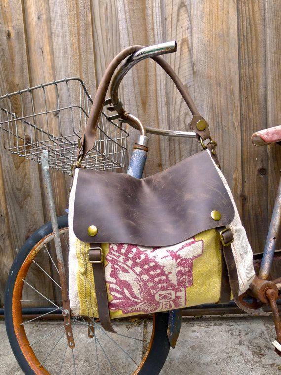 Indian Head Chief Crost - Vintage Seed Sack Leather Satchel Bag - Americana Leather Canvas & Leather Bag... Selina Vaughan