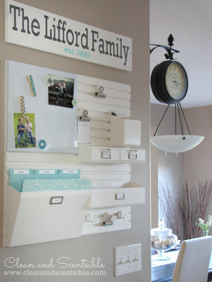 Clean & Scentsible: Updated Kitchen Command Center - I need to do something like this to get better organized with all the paper in my life!!