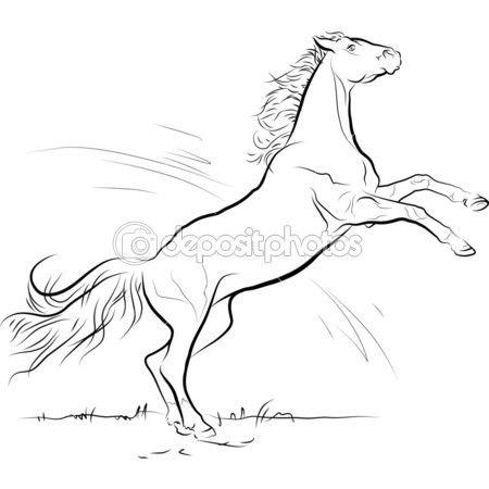 Salto del cavallo bianco e nero di disegno vettoriale ...