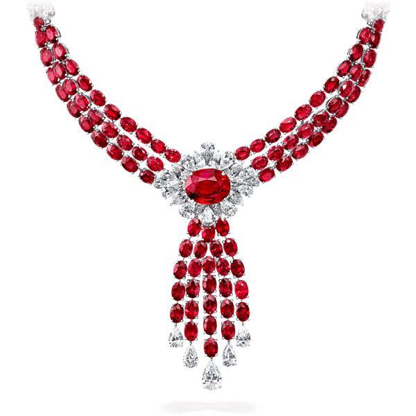 Ruby and Diamond Necklace ❤ liked on Polyvore featuring jewelry, necklaces, diamond jewellery, ruby jewellery, diamond necklace, ruby diamond necklace and diamond jewelry #rubyjewelry