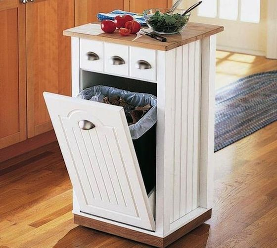 Brookstone's kitchen island hides your wastebasket, adds storage and even has a genuine hardwood butcher block surface for food prep.