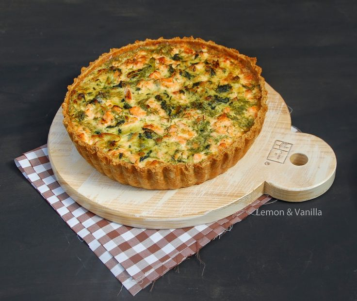 Lemon & Vanilla: Salmon and spinach quiche / Quiche de salmão e esp...