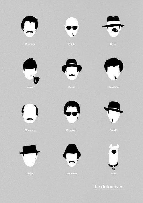 Movie poster TV Detectives art print illustration Retro sherlock holmes. $19.00, via Etsy.