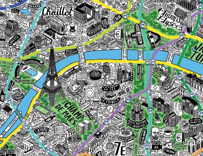 Hand Drawn Map of Paris - Jenni Sparks