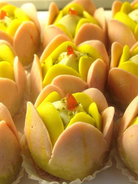 Burfi flowers (indian sweets) - so cute