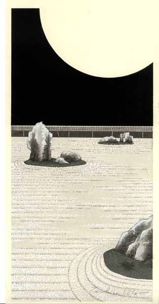 Moon, Ryoanji. Woodblock print by 加藤晃秀 (Teruhide Kato). From a set at http://www.hanga.co.jp/shopbrand/002/003/X/