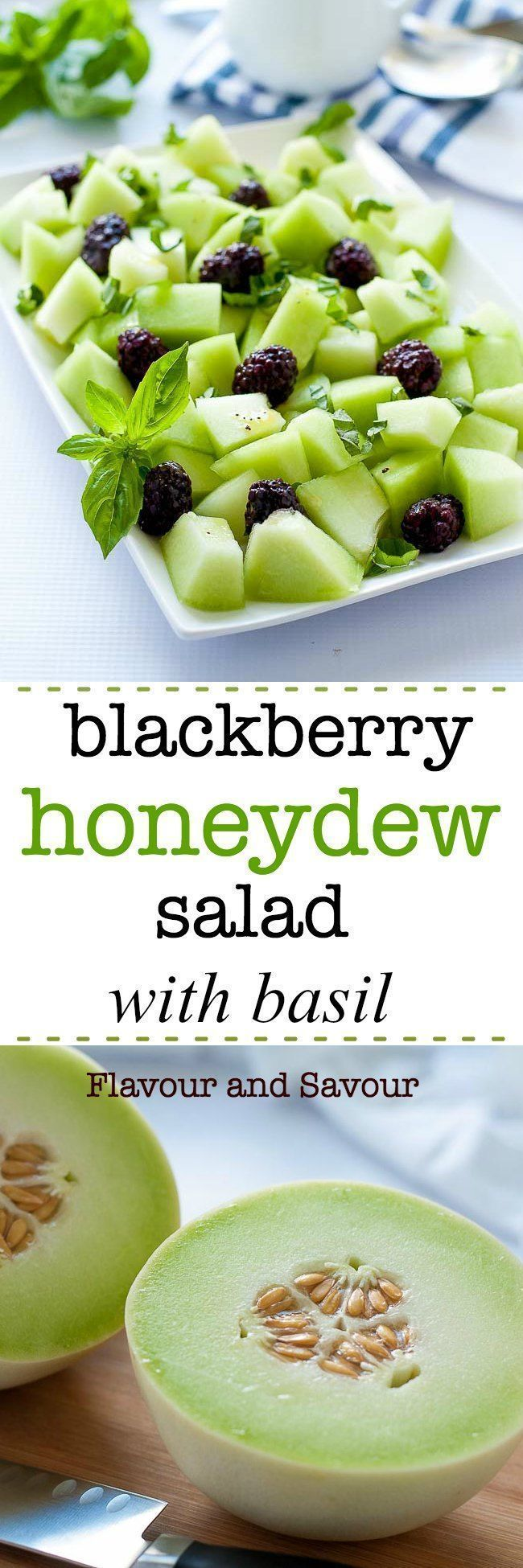 Sweet honeydew, tart blackberries and pungent basil combine to make this fresh Blackberry Honeydew Salad with Basil as appetizing to look at as it is to eat. How to choose a ripe honeydew melon every time! #HowtoEatHealthy