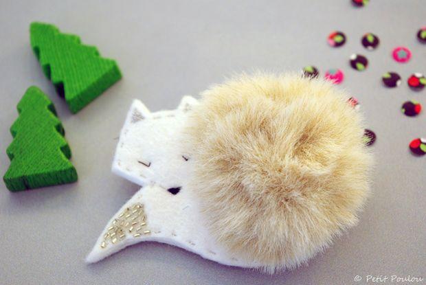 #DIY Broche Le Renard des neiges :: par Fanny pour Petit Poulou