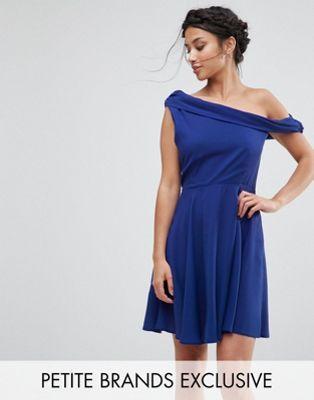 John Zack Petite Drapey One Shoulder Mini Dress