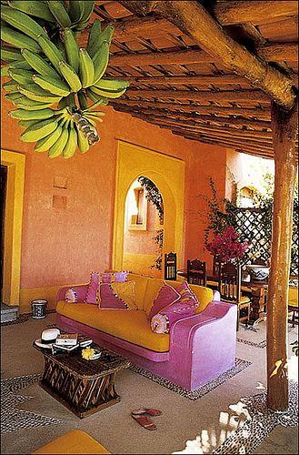 Las Alamandas between between Puerto Vallarta and Manzanillo, Mexico. I love how colorful everything is