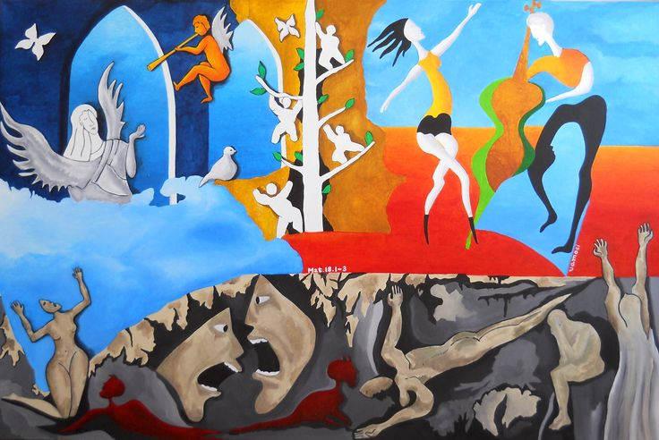 """Gospel of Matthew 18: 1-3, """"Unless you change and become like little children, you will never enter the kingdom of heaven"""" , from artist Peter Vamosi, acrylic on canvas, 150 x 100 cm"""