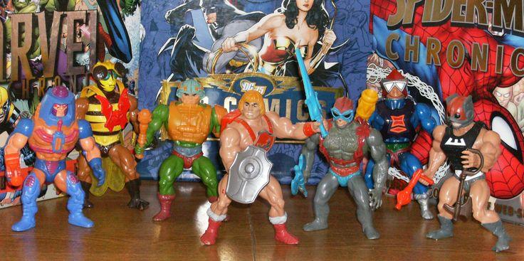 L to R: Man-E Faces, Buzz Off, Man-At-Arms, He-Man, Stratos, Mekaneck, Zodac.