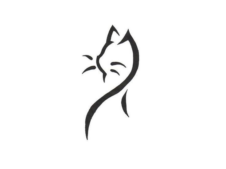 tatouage chat graphique modèle stylisé à contours épais