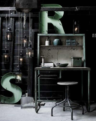 Vintage industrial   letters   green   interior styling   interiors inspiration   warehouse home