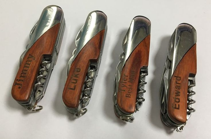 Set of 12 Custom Hunting Knives, Swiss Army Pocket Knife, Father's Day Gifts, Groomsmen Gifts, Engraved Swiss Army Knife, Pocket Knife $96.00