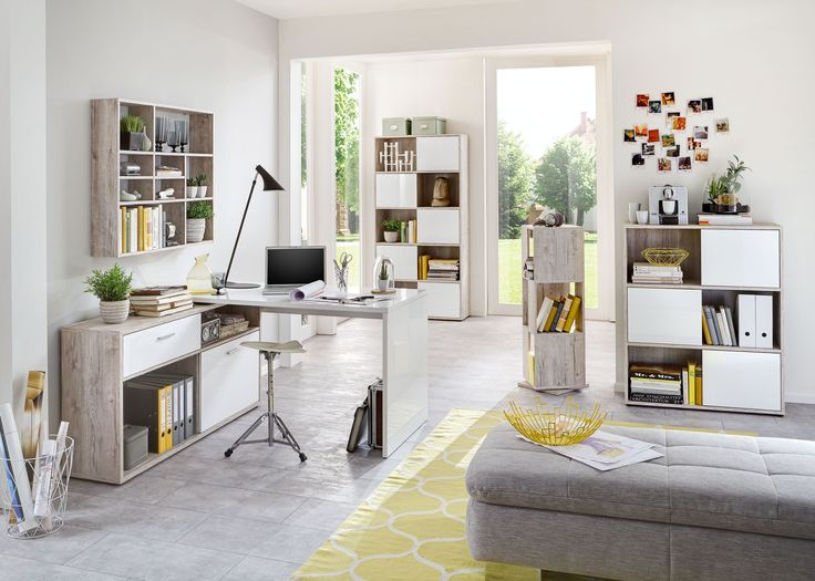 Büromöbel Sandeiche/ Hochglanz Weiss Mit Schreibtisch Container Und Regalen  Woody 70 00774 Sandeiche/