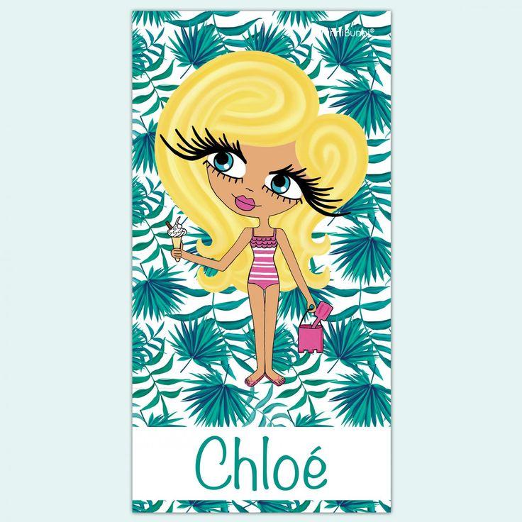 HunniBunni Little Miss Palm Print Personalised Beach Towel
