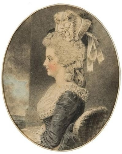 Eliza Pullein by John Downman in 1782. Love the feathers and the color of that dress...