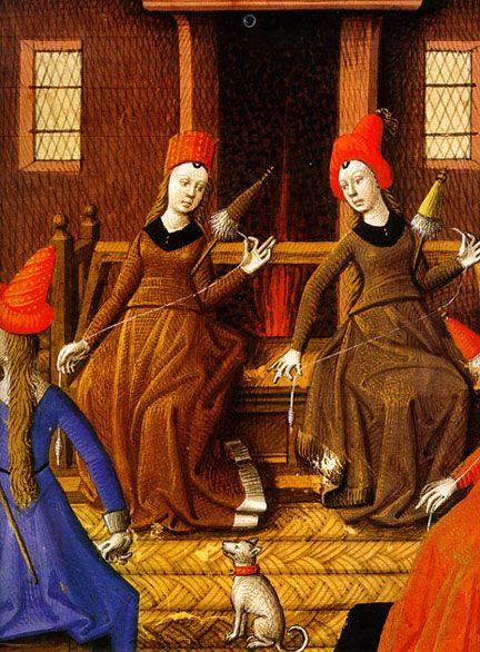 Valerius Maximus. Facta et Dicta Memorabilia. MS Harley 4375, fol. 179; French c. 1475. British Library, London. Woman Spinning with distaff. http://www.bl.uk/catalogues/illuminatedmanuscripts/ILLUMIN.ASP?Size=mid=28360